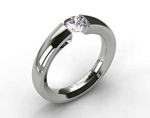14k White Gold Contoured Tension V121 by Danhov Designer Engagement Ring